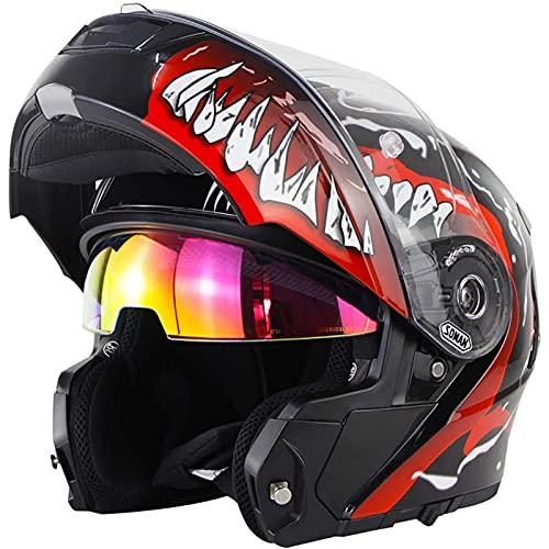 Cascos Modulares De Moto Mujer Hombre DOT ECE Homologado Cascos Abiertos De Moto Con Doble Visera Lente Grande Cascos Integrales De Moto Ventilado Casco Ligero Moto Venom 2,4XL