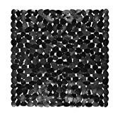 Bath Non-Slip Mat Square Cobblestone Bath Shower Safety Mats PVC Antiskid Mat (Black)