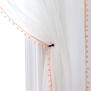 Selectex Linen Look Pom Pom Tasseled Sheer Curtains - Rod Pocket Voile Curtains for Living and Bedroom, Set of 2 Curtain Panels (52 x 95 inch, White Sheer & Blush Pom Poms)