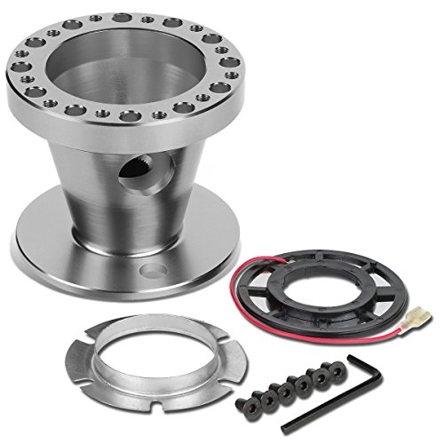 Aluminum Steering Wheel 6-Hole Hub Adaptor Kit (Silver) Replacement for Mitsubishi Eclipse/Lancer/Pickup