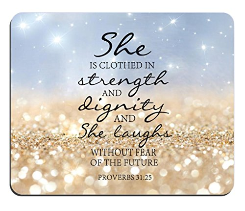 Rainbow Glitter Mouse Pad Bible Verse proverbs 31:25 She is Clothed in Strength And Dignity And She Laughs Without Fear of the Future Rectangle Non-Slip Rubber Mouse pad