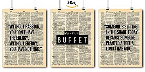 Famous Quotes Art - Warren Buffett - 3 Print Set - Vintage Dictionary Print 8x10 Home Vintage Art Prints Wall Art for Home Decor Wall Decorations For Living Room Bedroom Office Warren Buffett