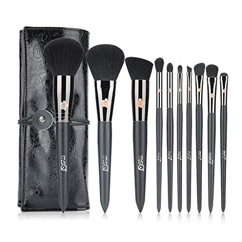 QXX-Make-up Brush Pinceau de Maquillage Premium Set 10 Pièce Ombre à Paupières Mélanger Lèvres Pinceau À Sourcils Combinaison Beauté Outils Débutant avec Sac De Rangement Noir