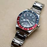 YMKCMC Herren-Armbanduhr, automatisch, mechanisch, schwarz, rot, blau, Keramik, Lünette, Edelstahl, Saphir, GTM, wasserdicht, AAA+