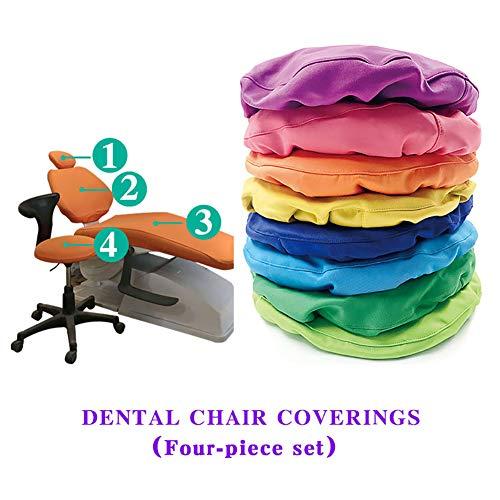 D&F Funda de sillón Dental 4 Piezas/Juego Funda de Silla de Tela Impermeable elástico Espesar No se desvanecen Reposacabezas Asiento Protector a Prueba de Polvo,D