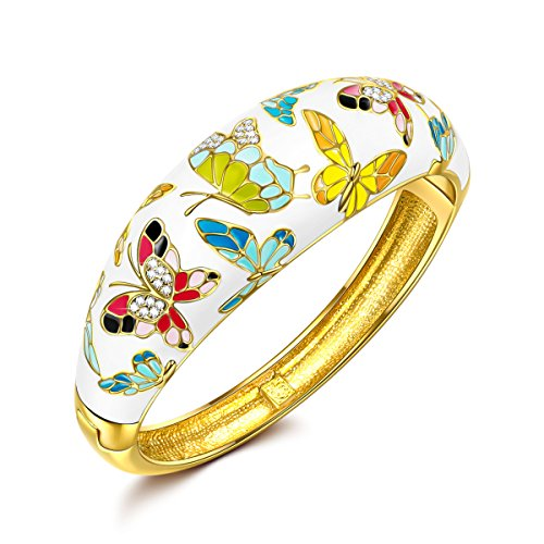 QIANSE Mother's Day Bracelets Gifts for Her for Women Spring of Versailles Yellow Gold Bangle Bracelets Enamel Butterfly Bangles for Women Jewelry for Women Gift for Mom Girlfriend Christmas Birthday Gifts