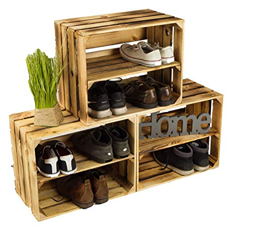 Lot de 3caisses à chaussures en bois flammé, avec 3étagères, pour 12paires de chaussures, dimensions: 50x40x30cm (une caisse), étagère solide