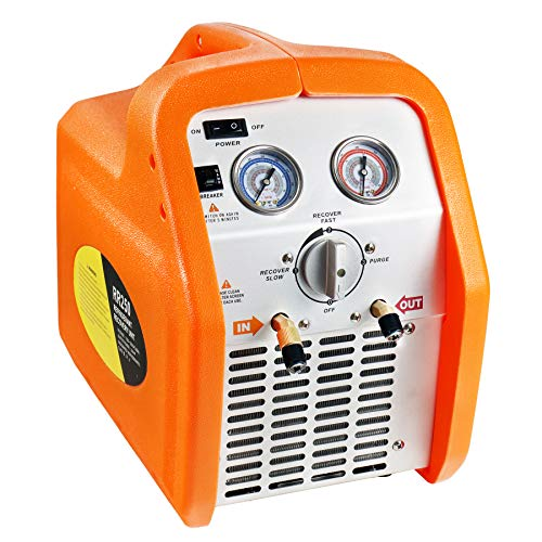 JIFETOR AC Refrigerant Recovery Machine Unit for Recycling Liquid and Vapor Refrigerant, Portable Freon Recycle Tool for Automotive Air Conditioner and Household HVAC System, 3/4HP Oil-less Compressor