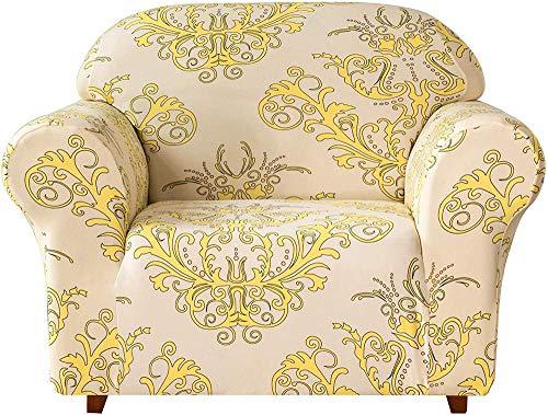 MWPO Fundas de sofá universales, Fundas de sofá elásticas de Jacquard Fundas de sillón 1 2 3 4 plazas Poliéster Spandex Patrón Floral Funda Antideslizante para sofá para Mascotas (Amarillo, 1 pla