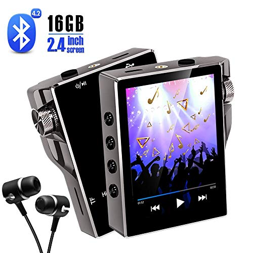 Gueray Hi-Fi Lettore MP3 Bluetooth 16GB portatile Musicale Lossless Audio Player con 2,4 Pollici OLED Schermo Photo Viewer E-Book Reader Radio FM supporta memory card fino a 128 GB (X8 16GB)