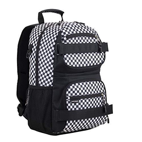 Eastsport New Double Strap Skater Multipurpose Backpack, Black/Checker Plaid