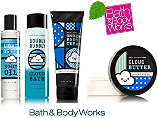 Bath & Body Works ELECTRIC BLUE SKY Deluxe Gift Set Body Oil ~ Body Butter ~ Luxury Bubble Bath and Body Oil