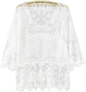 レース ブラウス レディース おしゃれ 白系 Tシャツ ブラウス バットウィングスリーブ 大きいサイズ かわいい 七分袖 Tシャツ レース 綿混 花柄 刺繍 トップス コメント 春 夏適