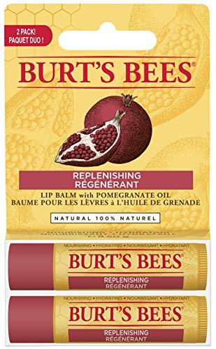 Pomegranate Moisturizing Lip Balm Twin Pack by Burts Bees for Unisex - 2 x 0.15 oz Lip Balm