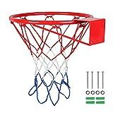 Basketball Rim Replacement 18' Indoor/Outdoor Basketball Hoop Backboard Rim - Fits Standard Indoor Or Outdoor Rims, 12 Loops
