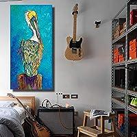 モジュラーウォールアート1ピース青い鳥動物の絵キャンバス絵画家の装飾寝室の装飾モダンなポスターとプリントリビングの装飾50x100cm-フレームなし
