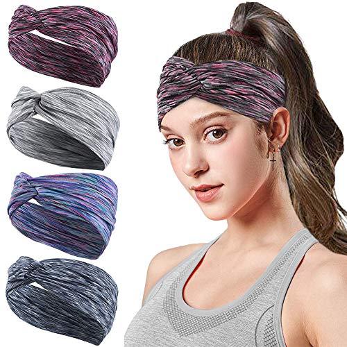 HHOOMY 4 Stück Frauen Sport Stirnband Anti Rutsch elastische Wicking Sport Stirnband kommt mit Cross Design Frauen Schweißband absorbierende Feuchtigkeit für Yoga, Reiten, Basketball