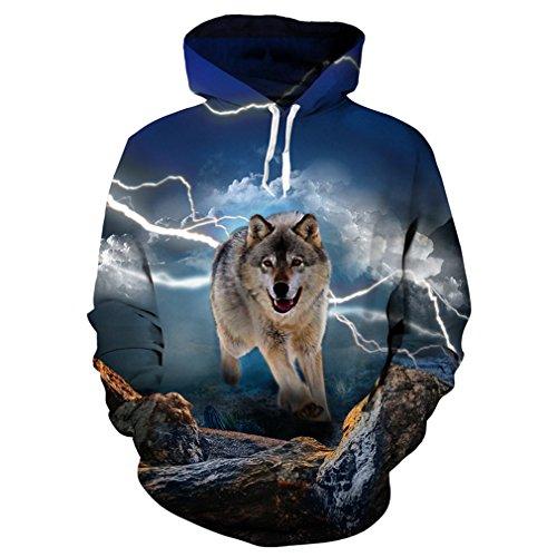 Wolf Hoodies 3D Print Sudadera con Capucha de Hombre Lobo Animal Hip Hop Sudadera con Bolsillos Grandes de Unisex 7 S