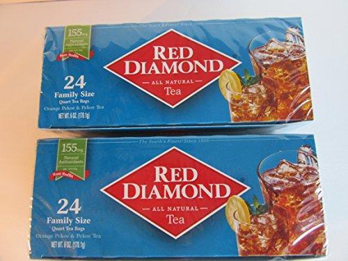 Red Diamond Tea All Natural 2-24ct Boxes Family Size Pekoe Antioxidants