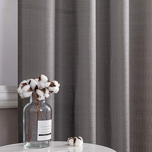 Grey Semi Sheer Window Curtains for Bedroom Window Curtains 84 inches Length Casual Weave Textured Privacy Curtain Panels for Living Room 2 Panels