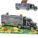 Dinosauri Giocattolo Macchinine - Camion Cars con 12 PCS Animali Animali Plastica per Bambini Tappeto da Gioco Camion del Trasportatore Giocattoli Giochi Didattici per Bambini Ragazzo 3 4 5 Anni