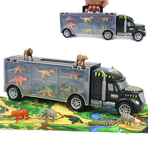Dinosaurier LKW Spielzeug Transportfahrzeug Lastwagen mit Spielmatte 12 Stück Dino Figuren Tiere Bildungsgeschenk für Jungen Mädchen Kinder 3 4 5 Jahre Alt