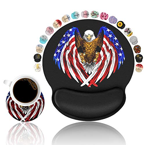 LOWORO Ergonomic Mouse Pad Wrist Support with Coasters Set, Patriotic American Flag Bald Eagle Wrist Rest Pad, Non-Slip PU Base for Home Office Working Gaming Pain Relief