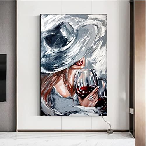 CAPTIVATE HEART Lienzo Obra de Arte Pintura 30x50cm sin Marco Calle Graffiti Mujer Copa de Vino Pintura al óleo Póster Pintura de Pared Arte Moderno para el hogar Decoración de Pared Sin Marco ing