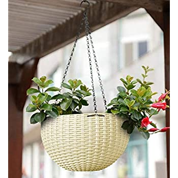 YOUNG CRAFTS Hanging Planters Plastic Pots Sanitized with Hanging Chains (Pack of 3) White Color