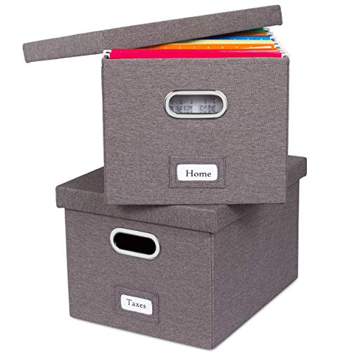 Internet's Best Collapsible File Storage Organizer with Lid - Decorative Linen Filing & Storage Office Box – Hanging Letter/Legal Folder – Home Office Bins Cabinet – Grey Container - 2 Pack