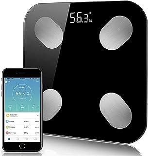 Báscula de Peso Profesional Bluetooth Peso del Piso Báscula Antideslizante de baño Pantalla de retroiluminación Inteligente Báscula Digital Peso Corporal Báscula de Grasa Duradera (Color: DR HW011)