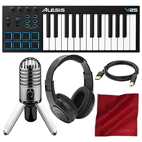 Alesis V25 25-Key USB MIDI Keyboard Controller & Drum Pad with Samson Meteor Mic...
