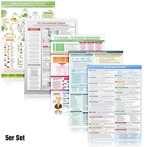 [5er-Set] NLP Coaching, NLP Interventionen Quickfinder, GFK-Navigator, PowerPoint-Coach, Grüne Smoothies: 5 Karten DINA4 - laminiert - 2020
