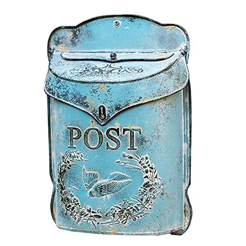 ZXWNB Briefkasten Der Nifty Nook Vintage Style Briefkasten Nostalgischer Charme Wohnkultur Bauernhaus Design Briefkasten Wandhalterung 15,55 * 10,83 * 3,54 Zoll (Verzinkt),B,1
