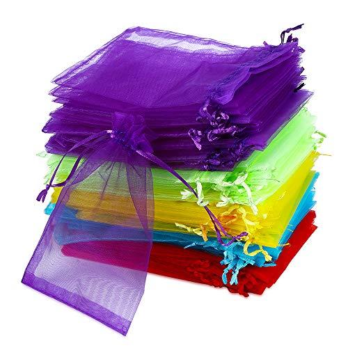 Vegena 100 Bolsas de Organza 10 x 15 cm, Pequeñas Bolsas de Organza Bolsas de Regalo con Cordón, para Joyas, Regalos, Bodas, Fiestas, 5 Colores