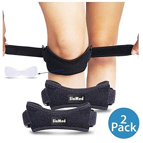 SiaMed 2X Kniegurte - Kniebandagen - Patellasehnenbandagen - Jumpers Knee - Meniskus - Verstellbarer Knie-Strap zum Laufen, Wandern und Fußball in schwarz