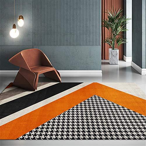MMHJS Alfombra De Línea Dorada Simple Nórdica para El Hogar Alfombra Grande Rectangular para Sala De Estar Y Dormitorio 160x200cm