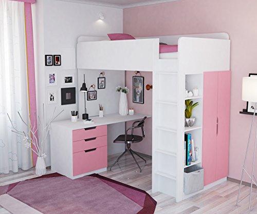 Polini Kids Kinder Hochbett mit Kleiderschrank und Schreibtisch