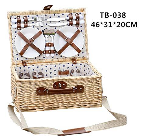 Gifftiy Picknick Korb Traditioneller Picknickkorb Weidencampingkorb Outdoor-Korb Weidenkörbe Handgemachte Spielkörbe 4 Personen Picknick-Party-Tb-038_Andere