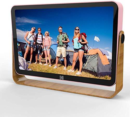 KODAK - Cornice portafoto digitale 10 pollici WLAN, ricaricabile, 16 GB di RAM, WiFi, con funzione Foto/Video/Calendario/sveglia/meteo e aggiornamenti di posizione, RCF-108 rosa