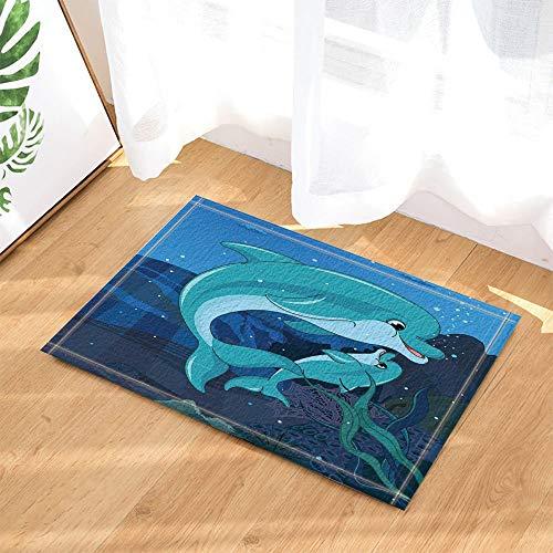 WANGXIAO Decoración de Amor Madre e Hijo Delfines Nadando en el océano...