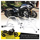 US Stock!! 2 Set Motorcycle Steel Stunt Sub-cage Rear Passenger Peg Subcage w/ Front Engine Guard Crash Bar Protector for Yamaha MT09 FZ09 MT FZ 09 Tracer 900 MT-09 FZ-09 2014 2015 2016 (White)