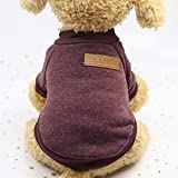 Pet Dog Classic Knitwear Sweater Fleece Dog Coat Soft Thickening Pup Dogs Shirt Spring Cat Clothes Puppy Customes Clothing for Small Dogs 2 Color (Brown, X-Small)