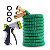 Geasky Expandable Garden Hose 150ft Long Hose 4 Layers Latex Core Water Hose High Tenacity Fabric Outer Cover High Tenacity Fabric Outer Cover Solid Brass Fittings 8-Way Nozzle Upgraded Version 2020