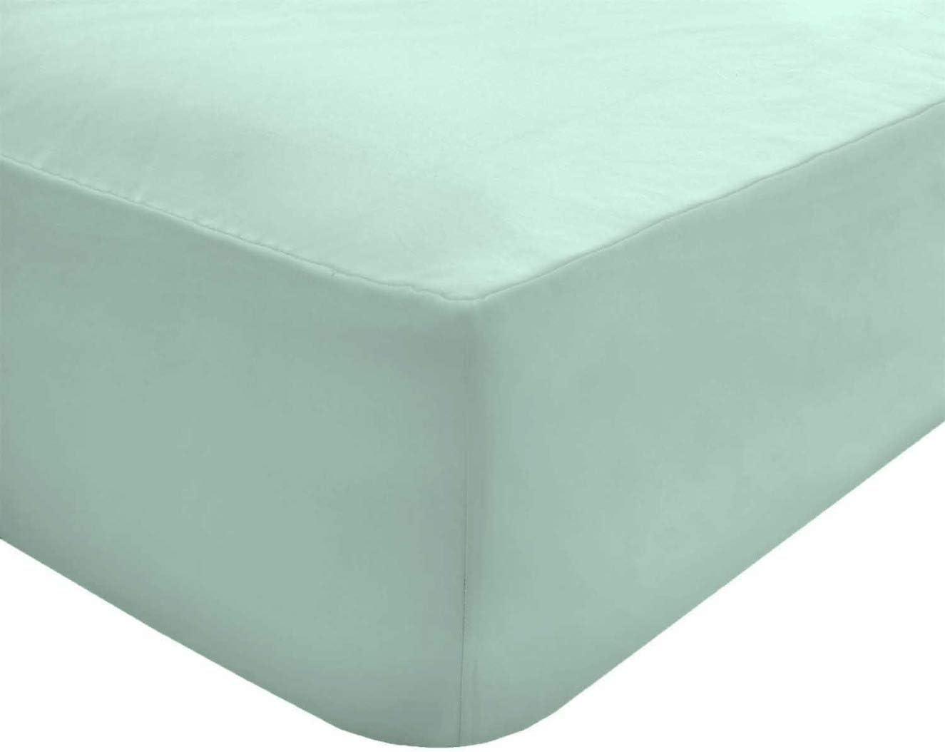 Sleepdown Sábana Bajera Ajustable de polialgodón de fácil Cuidado, no Necesita Planchado, Muy Suave, 25 cm de Profundidad, para Cama Doble, Color, Azul Pastel, Doublé