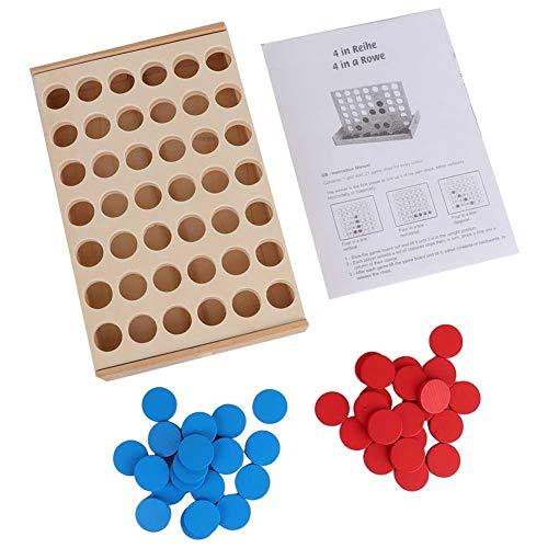 Alomejor 4 in Einer Reihe Kind Spiel Kinder Pädagogisches Brettspiel Spielzeug Holzspiel für ganze Familie