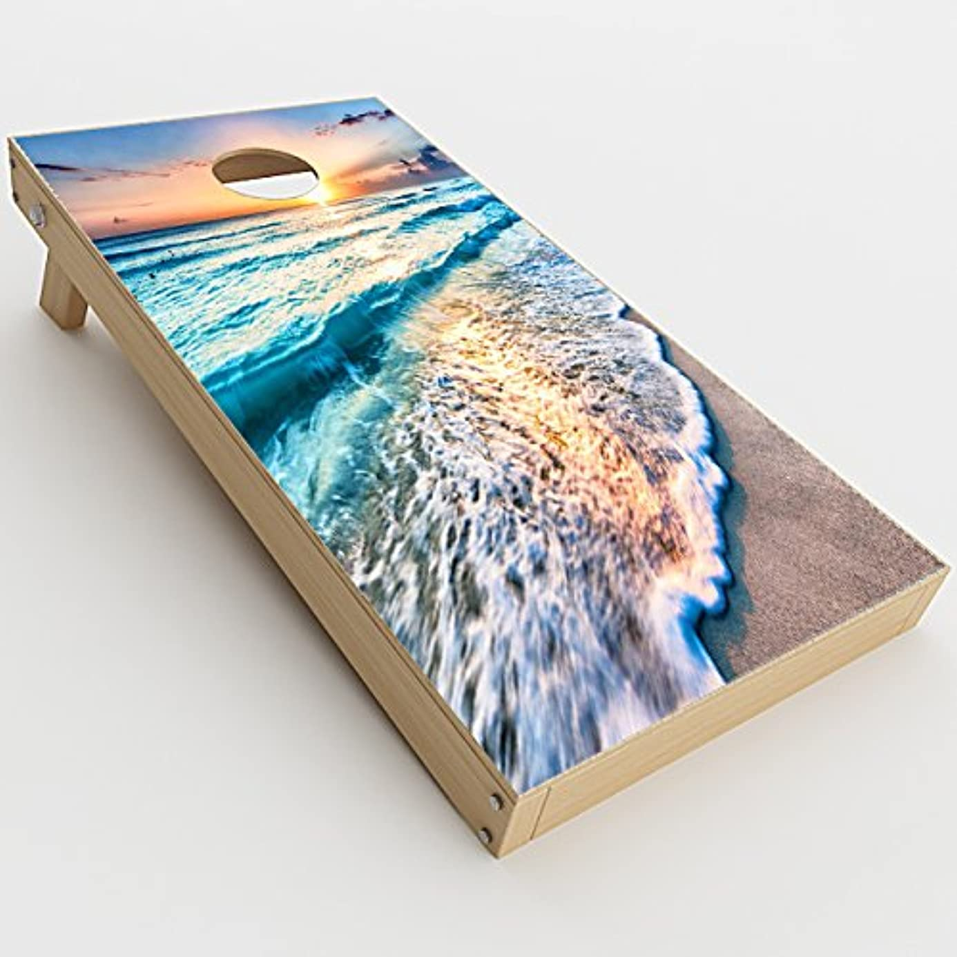 Skin Decals Vinyl Wrap for Cornhole Game Board Bag Toss (2xpcs.) / sunset on beach