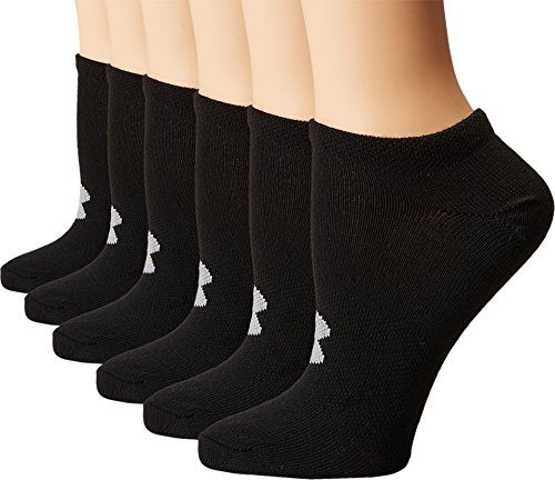 Under Armour Women's Essential No Show Socks (6 Pack), Black/Steel, Medium