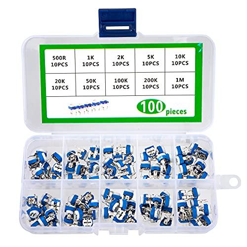 Trimmer Potentiometer Variabler Widerstand 500 1K 2K 5K 10K 20K 50K 100K 200K 1M Ohm 10 Wert RM065 Sortiment Kit mit Aufbewahrungsbox 100 Stück