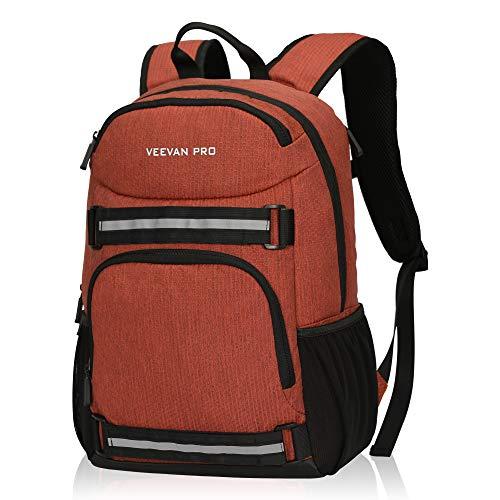 Veevanpro Cooler Backpack Insulated Backpack Cooler Lightweight Skateboard Backpack Leakproof Soft Cooler Bag 25 Cans, Orange Red